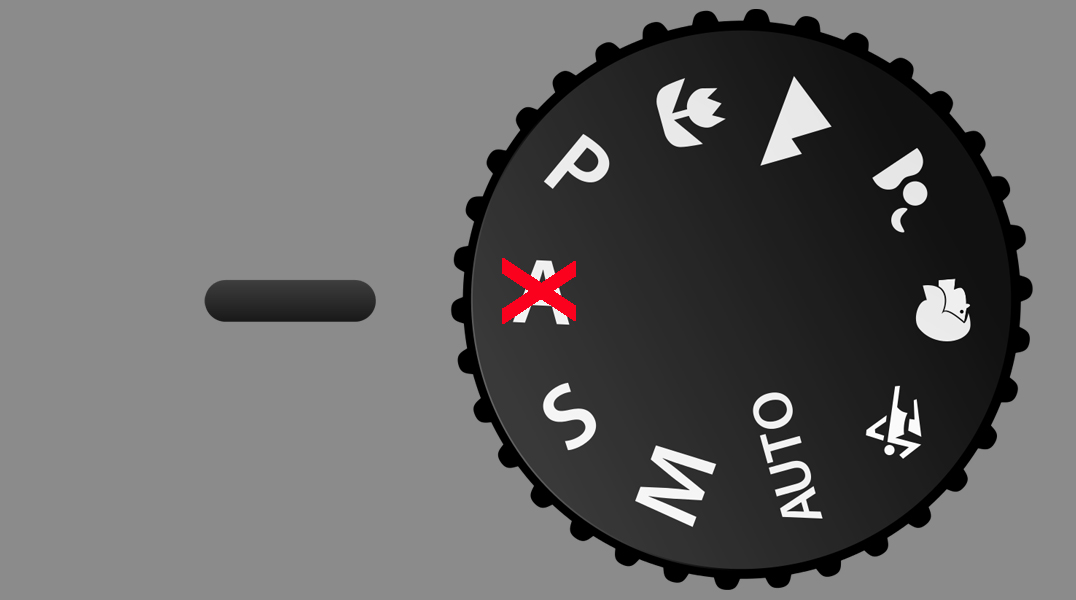Aperture Priority Dial with red cross against aperture
