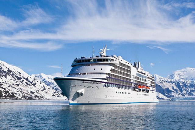 Alaska cruise ship in a fjord