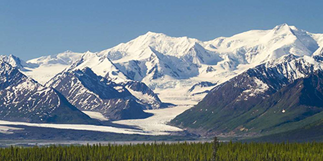 Alaska Mountains covered in snow